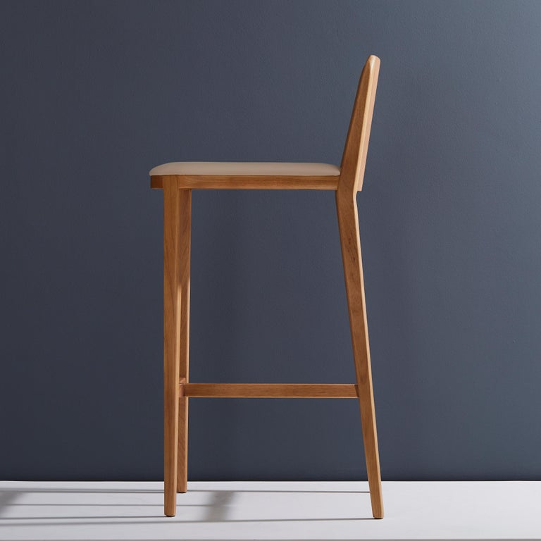 Modern Minimal Style, Bar Stool in Solid Wood, Textiles or Leather Seatings For Sale