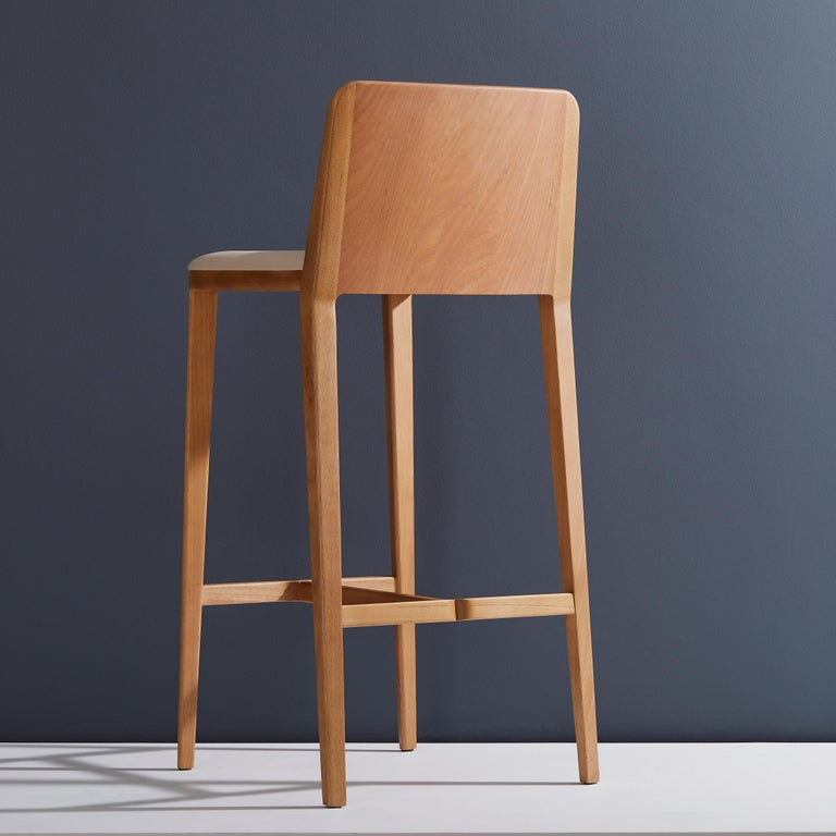Brazilian Minimal Style, Bar Stool in Solid Wood, Textiles or Leather Seatings For Sale