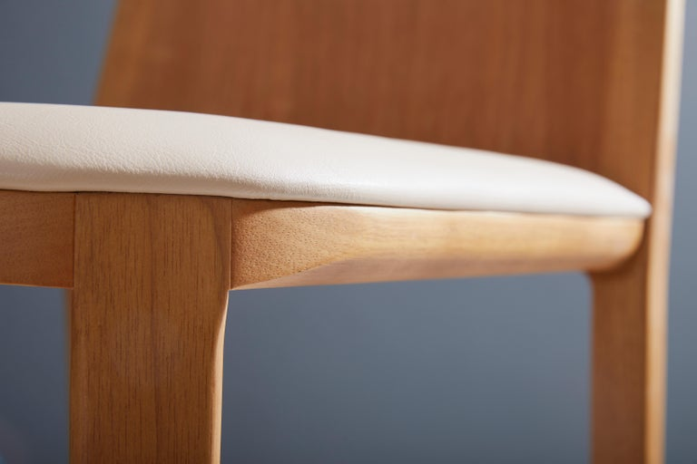 Contemporary Minimal Style, Bar Stool in Solid Wood, Textiles or Leather Seatings For Sale