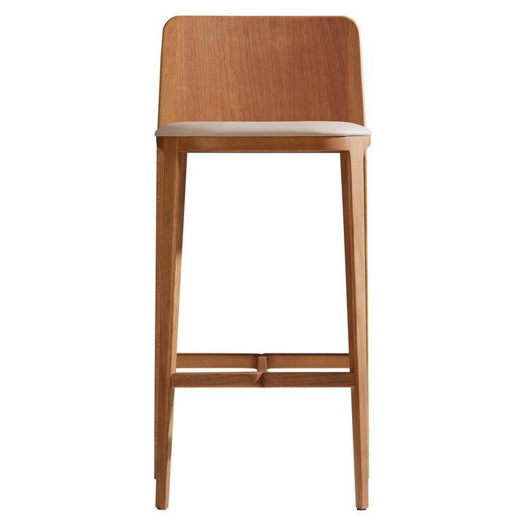 Minimal Style, Bar Stool in Solid Wood, Textiles or Leather Seatings For Sale