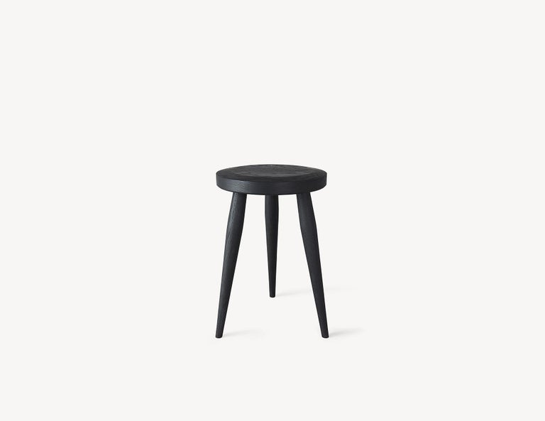 Blackened Minimal Three-Legged Stool by Coolican & Company For Sale