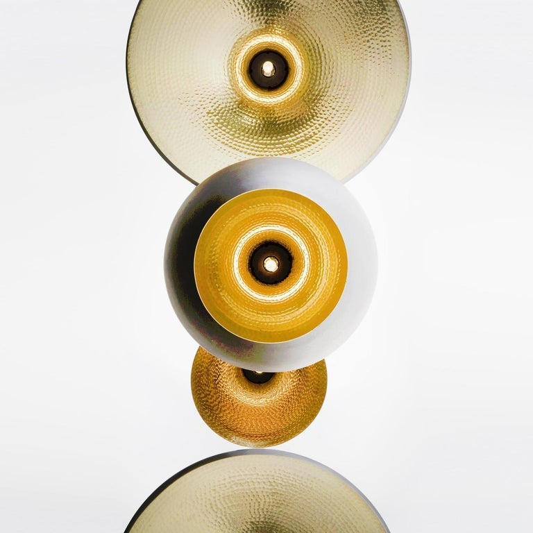 Minimal Tom Dixon Beat Fat Brass Pendant Gold Hammered