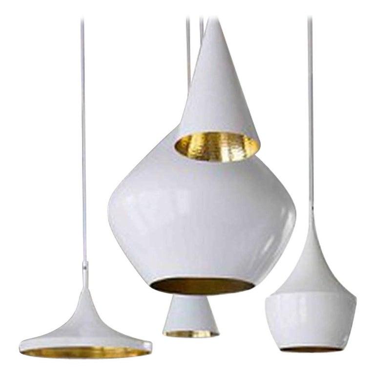 Modern Minimal Tom Dixon Beat Fat Brass Pendant White Pendant Light Fixture, Spun Brass For Sale