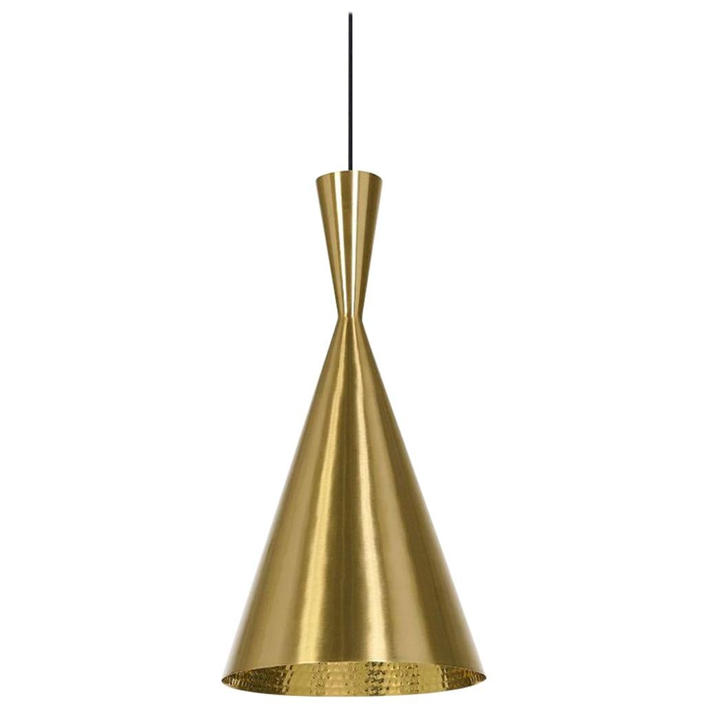 Minimal Tom Dixon Beat Tall Brass Pendant Gold Hammered Pendant Light Fixture