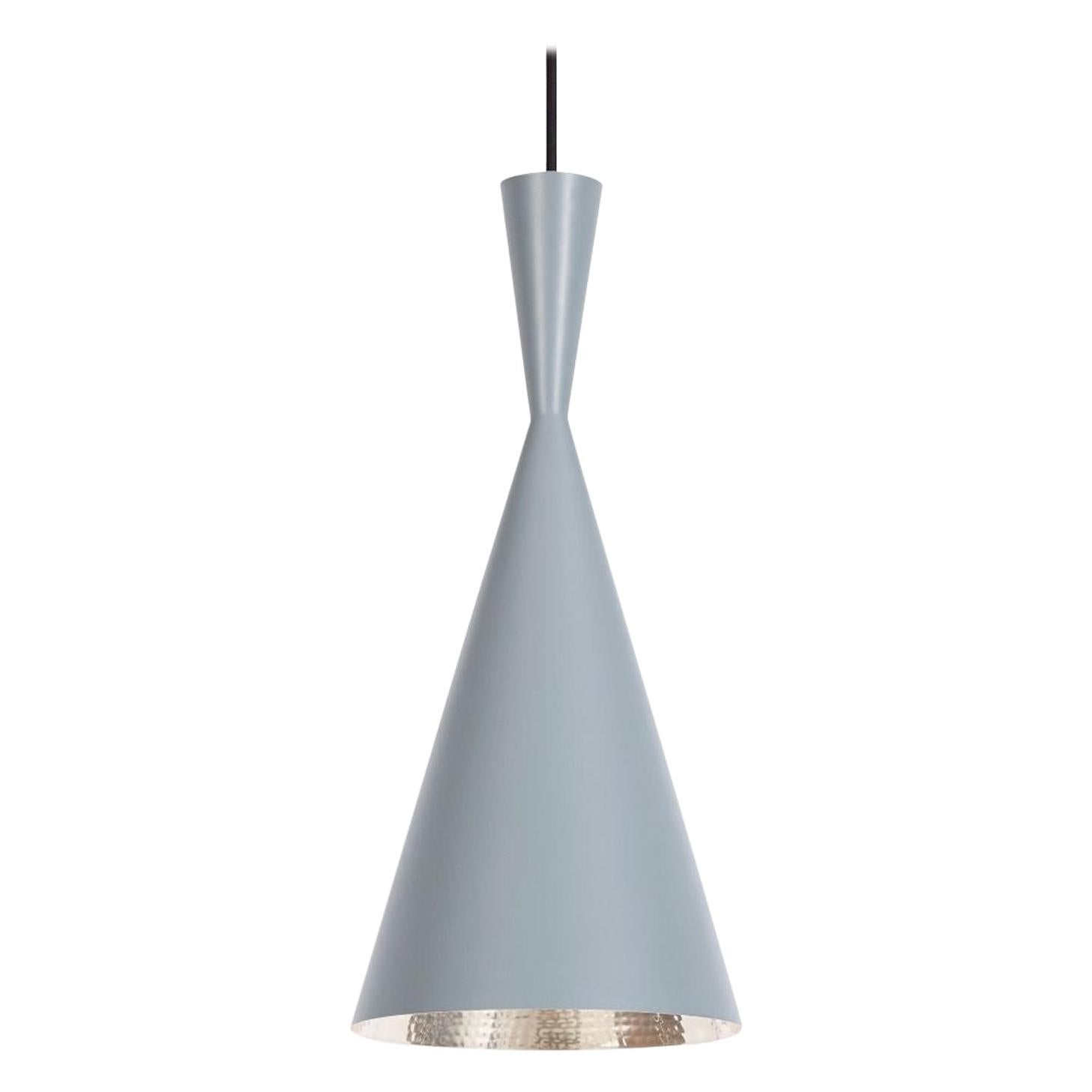 Minimal Tom Dixon Beat Tall Gray Pendant Brass Light Fixture, Contemporary