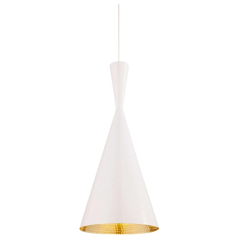 Minimal Tom Dixon Beat Tall White Pendant Brass Light Fixture, Contemporary For Sale