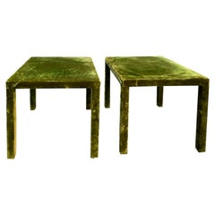 Minimal Vintage Green Velvet Upholstered Occasional Table Set, Silk
