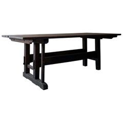 Minimal Wabi Sabi Dining Table or Desk with Remains of Original Paint