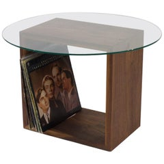 Minimal Walnut Handcrafted Accent Table with Glass Top