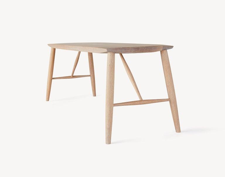 Scandinavian Modern Minimal White Oak Bench by Coolican & Company For Sale