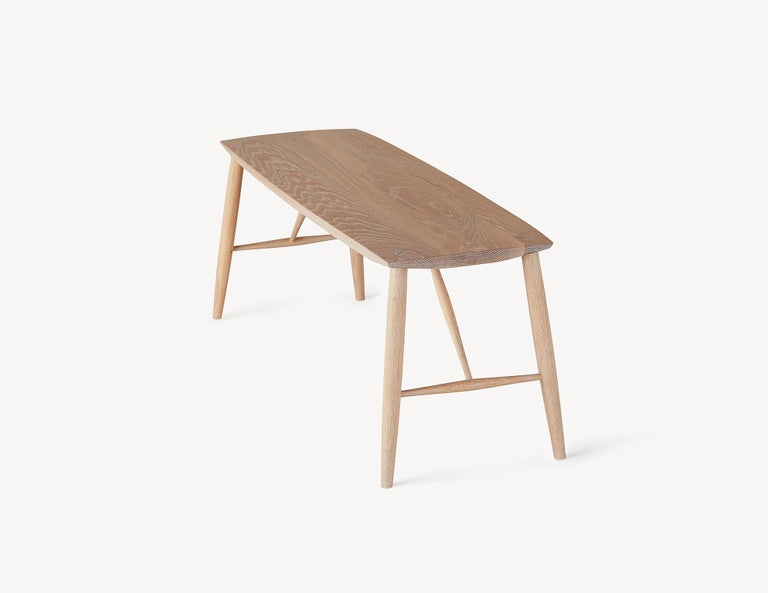 Hand-Crafted Minimal White Oak Bench by Coolican & Company For Sale