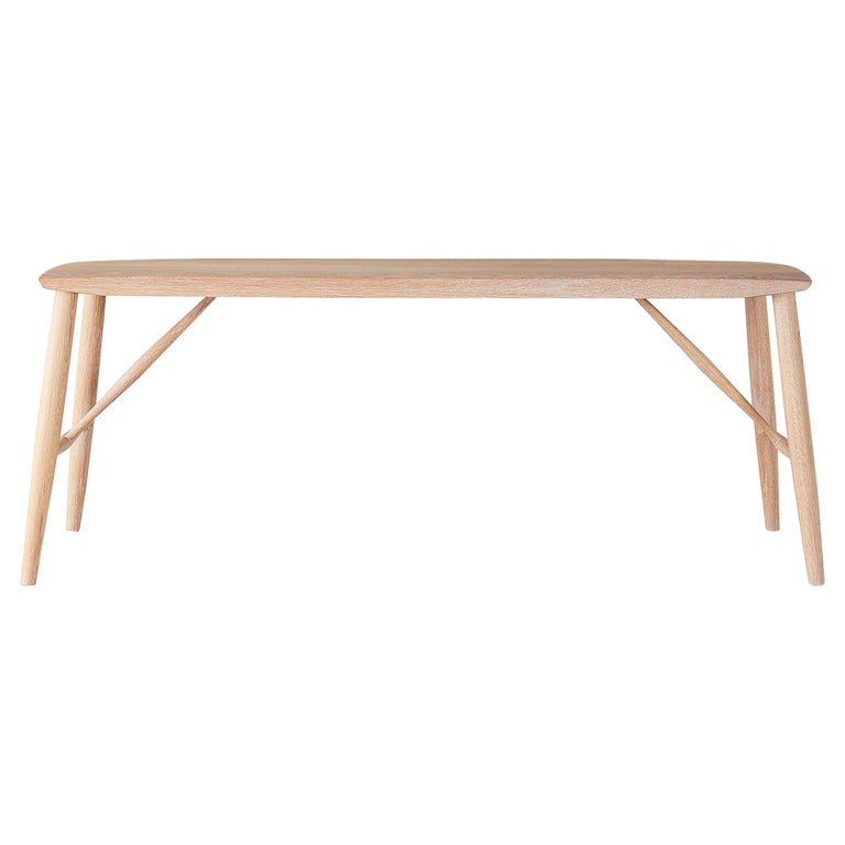 Minimal White Oak Bench by Coolican & Company For Sale