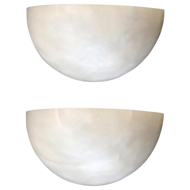 Minimaliist Pair of Alabaster Wall Sconces White Color, , 20th Century