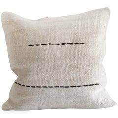 Minimalist Antique White Turkish Rug Pillow