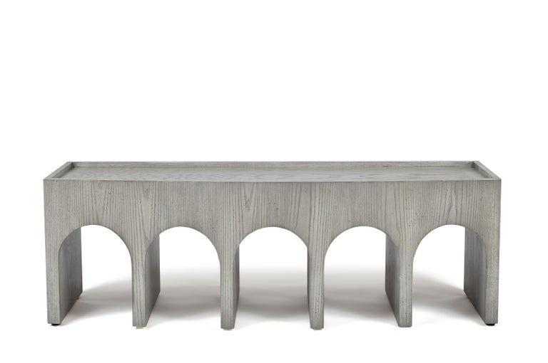 Modern Minimalist Arch Curved Front Upholstered Bench in Oak by Martin and Brockett For Sale