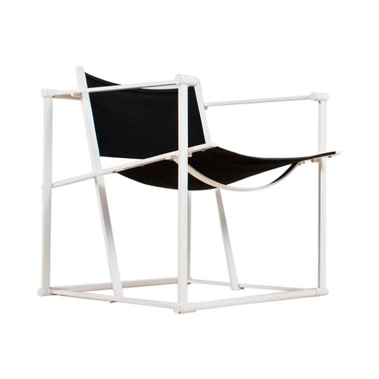 Minimalist Armchair in Black and White by Radboud Van Beekum for Pastoe, 1981 For Sale
