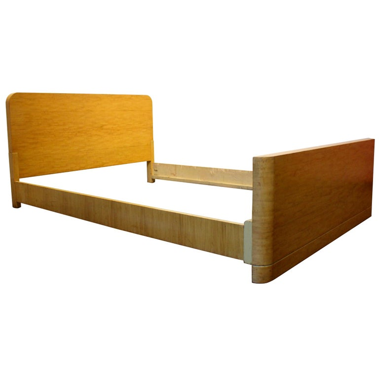 dfd6e226fdcae Minimalist Art Deco Mid-Century Modern Maple Wood Full Size Bed Frame For  Sale