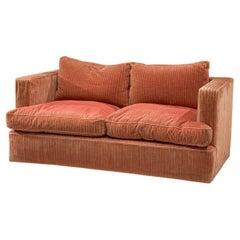 Minimalist Art Deco Two-Seat Sofa in Orange Structured  Fabric