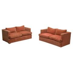 Minimalist Art Deco Two-Seat Sofas in Orange Structured Fabric