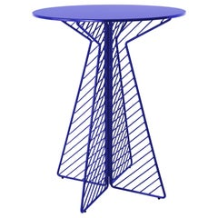 Minimalist Bar Table, Flat Pack Wire Cafe Bar Table in Electric Blue by Bend