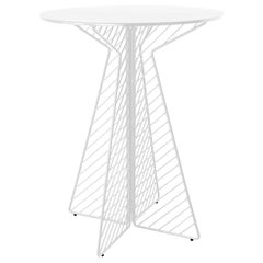 Minimalist Bar Table, Flat Pack Wire Cafe Bar Table in White by Bend Goods