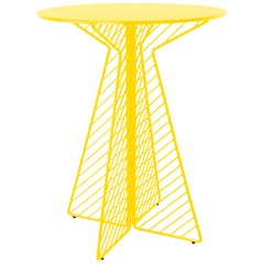 Minimalist Bar Table, Flat Pack Wire Cafe Bar Table in Yellow by Bend Goods