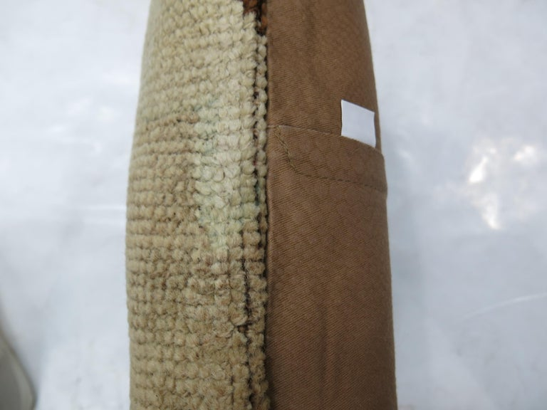 Minimalist Beige Brown Vintage Turkish Oushak Rug Pillow In Excellent Condition For Sale In New York, NY