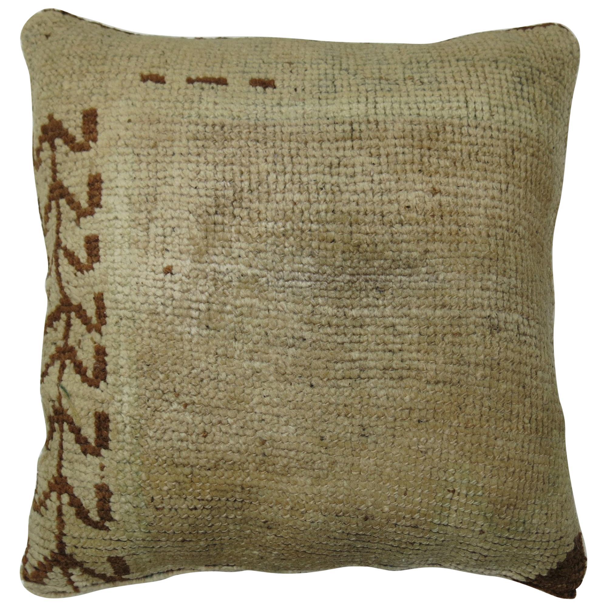 Minimalist Beige Brown Vintage Turkish Oushak Rug Pillow