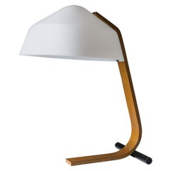 Minimalist Bent Wood Table Lamp, 1960s