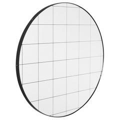 Minimalist Black Frame with Black Grid Orbis Circular Wall Mirror, Regular
