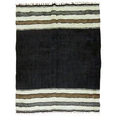Minimalist Black Ivory Gray Brown 20th Century Turkish Mohair Rug