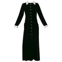 Minimalist Black Velvet Contrast Coat Dress with White Appliqué Collar- S, 1940s