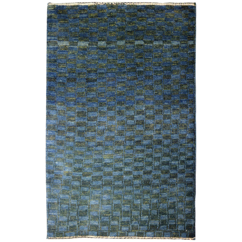 Minimalist Blue and Green Wool Persian Carpet