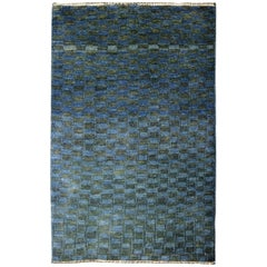 Minimalist Blue and Green Wool Persian Carpet