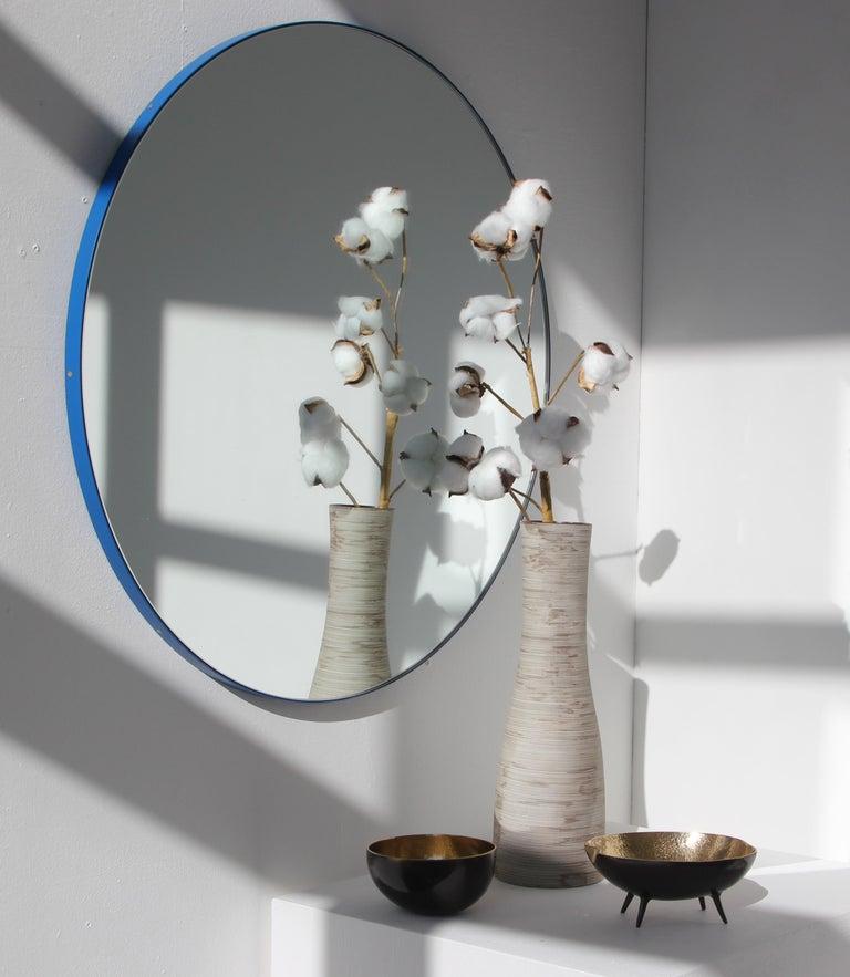 Organic Modern Minimalist Blue Frame Orbis Circular Wall Mirror, Small For Sale