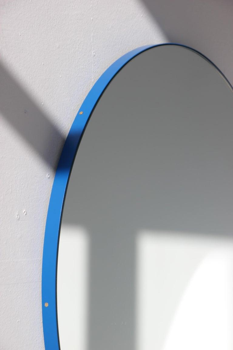 Contemporary Minimalist Blue Frame Orbis Circular Wall Mirror, Small For Sale