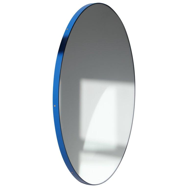 Minimalist Blue Frame Orbis Circular Wall Mirror, Small For Sale