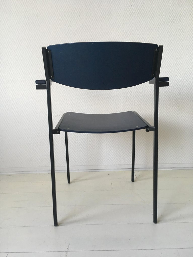 Minimalist Blue Metal and Plywood Stackable Armchairs by Gijs Van Der Sluis For Sale 5