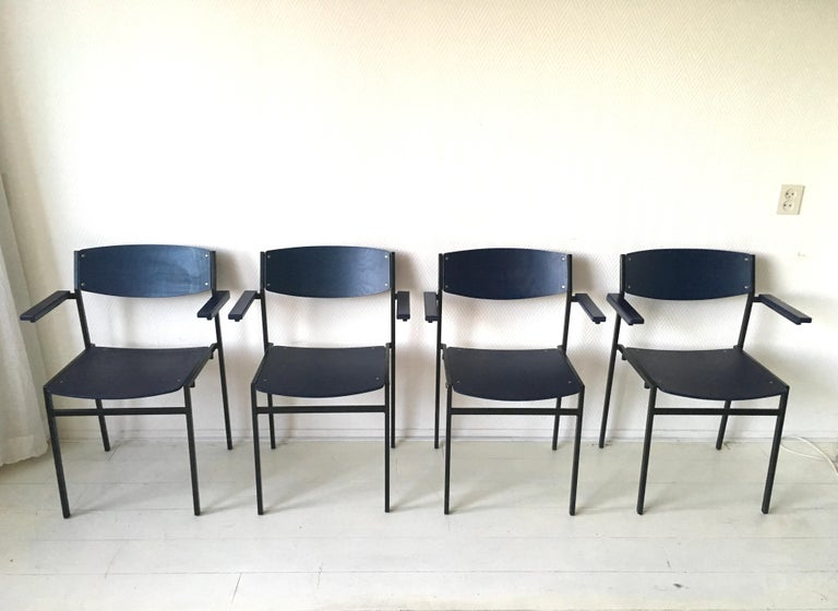 Dutch Minimalist Blue Metal and Plywood Stackable Armchairs by Gijs Van Der Sluis For Sale
