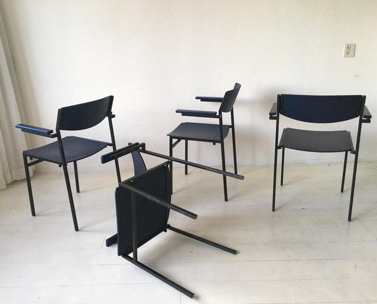 Minimalist Blue Metal and Plywood Stackable Armchairs by Gijs Van Der Sluis In Good Condition For Sale In Schagen, NL