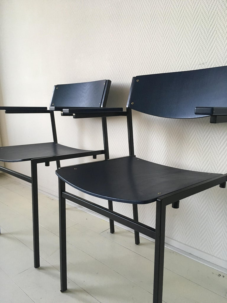 Mid-20th Century Minimalist Blue Metal and Plywood Stackable Armchairs by Gijs Van Der Sluis For Sale
