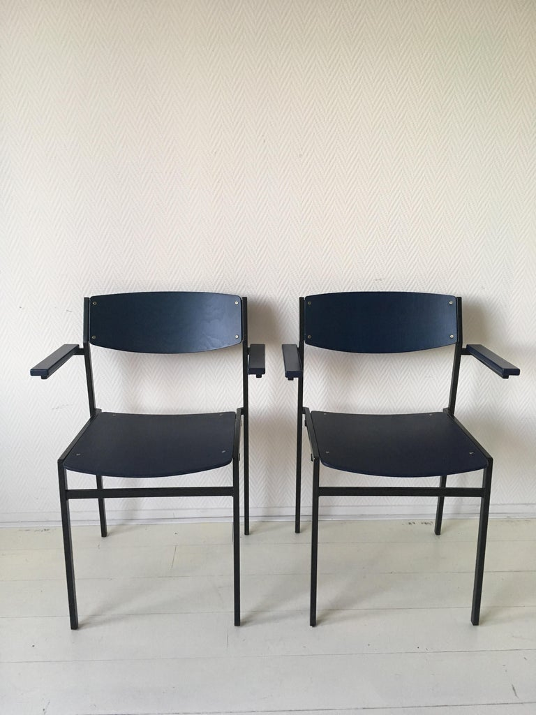 Minimalist Blue Metal and Plywood Stackable Armchairs by Gijs Van Der Sluis For Sale 1