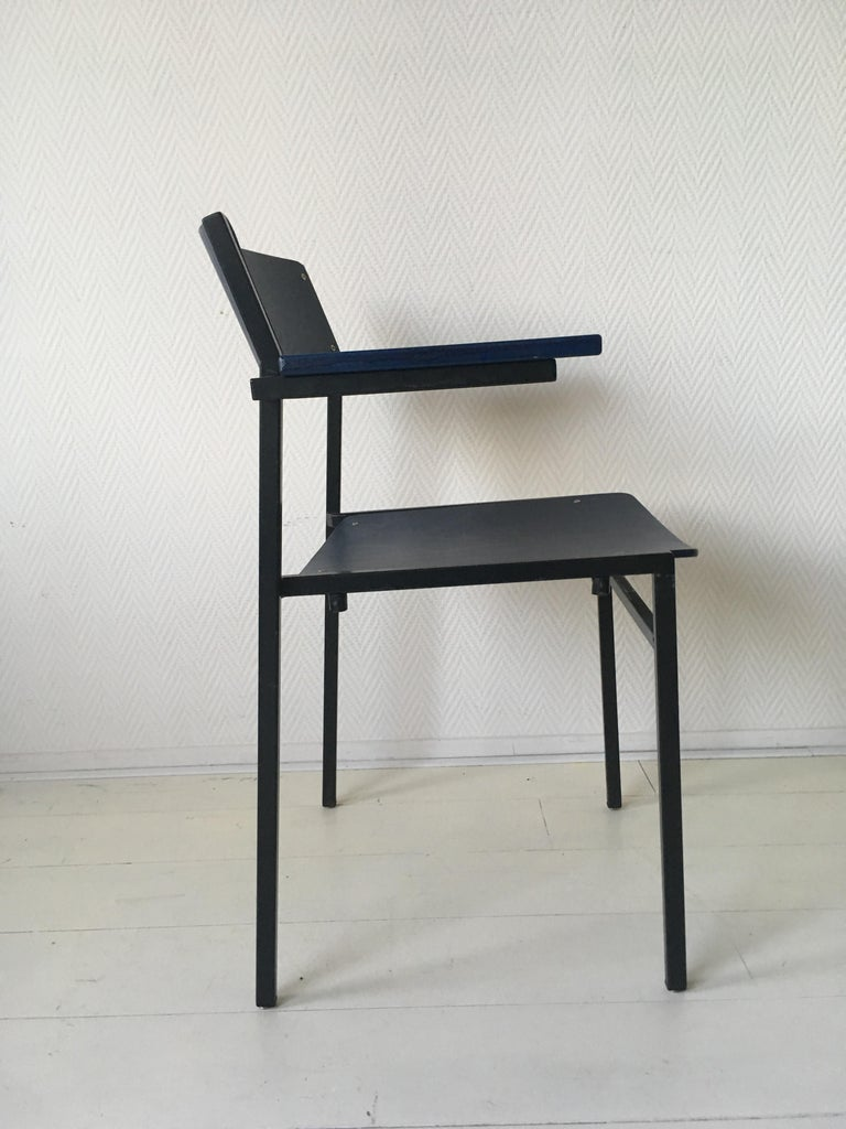 Minimalist Blue Metal and Plywood Stackable Armchairs by Gijs Van Der Sluis For Sale 4
