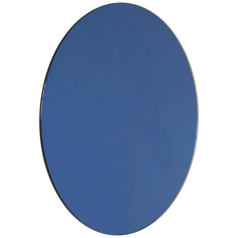 Orbis™ Blue Tinted Round Minimalist Frameless Mirror - Small