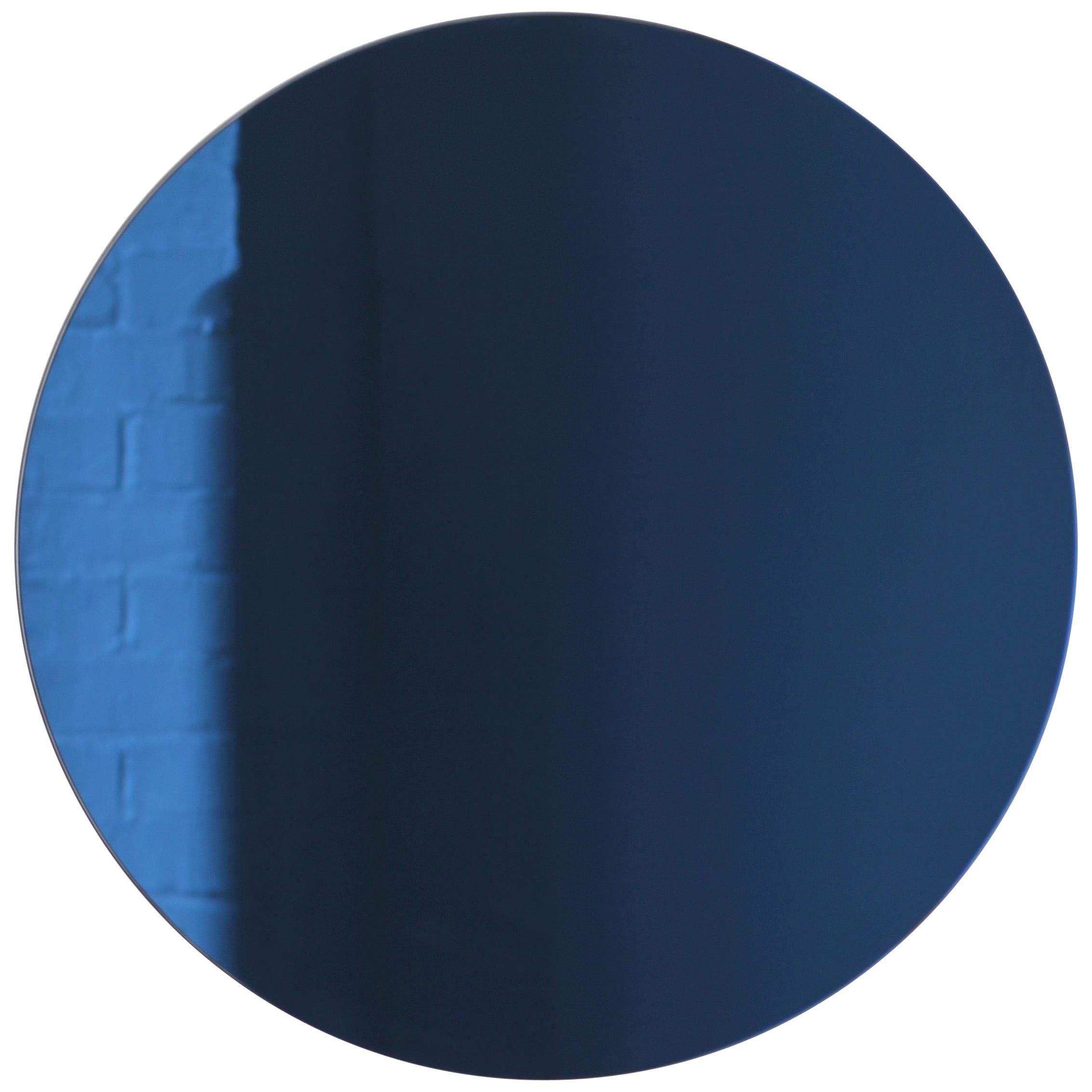 Orbis™ Blue Tinted Round Contemporary Frameless Mirror - Medium