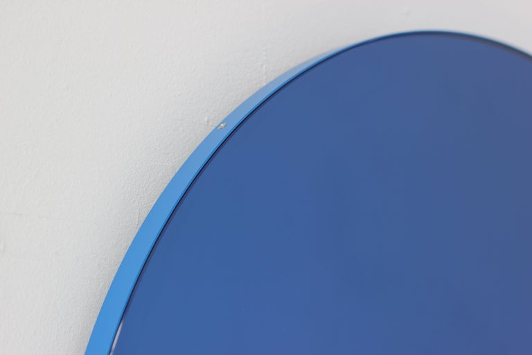Minimalist Blue Tinted with Blue Frame Orbis Circular Wall Mirror, Small For Sale 4