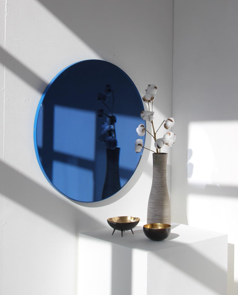 Organic Modern Minimalist Blue Tinted with Blue Frame Orbis Circular Wall Mirror, Small For Sale