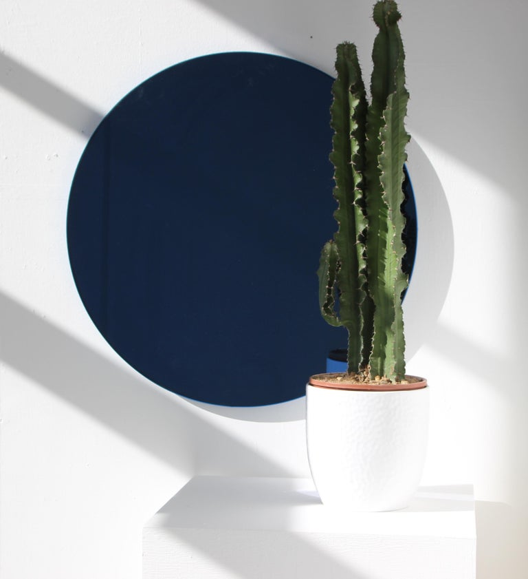 British Minimalist Blue Tinted with Blue Frame Orbis Circular Wall Mirror, Small For Sale