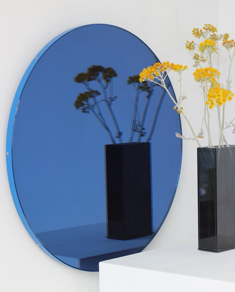 Minimalist Blue Tinted with Blue Frame Orbis Circular Wall Mirror, Small In New Condition For Sale In London, GB