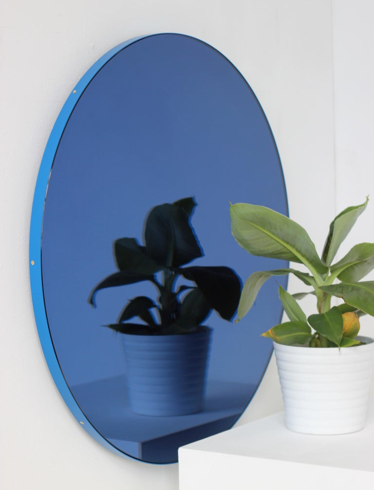 Contemporary Minimalist Blue Tinted with Blue Frame Orbis Circular Wall Mirror, Small For Sale